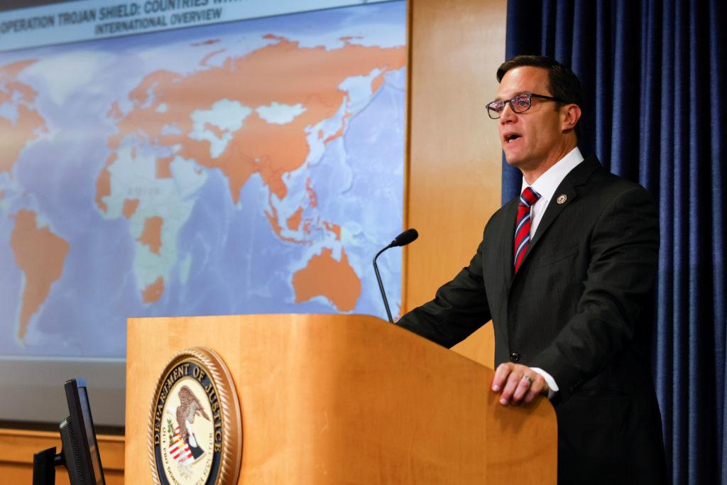 News conference regarding a massive worldwide takedown based on FBI's investigation involving the interception of encrypte...