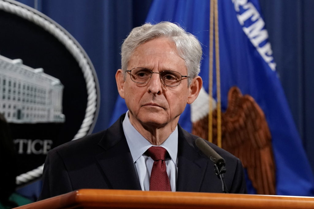 U.S. Attorney General Merrick Garland announces that the Justice Department will file a lawsuit challenging a Georgia elec...