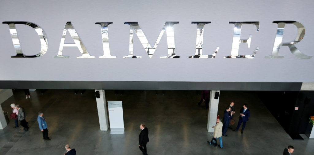 FILE PHOTO: The Daimler logo is seen before the Daimler annual shareholder meeting in Berlin,