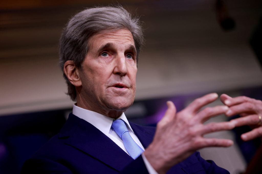 FILE PHOTO: John Kerry, Special Presidential Envoy for Climate, delivers remarks during a press briefing at the White Hous...