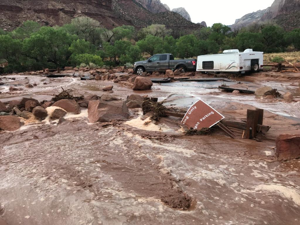 Flash flooding at Zion National Park near Springdale, Utah