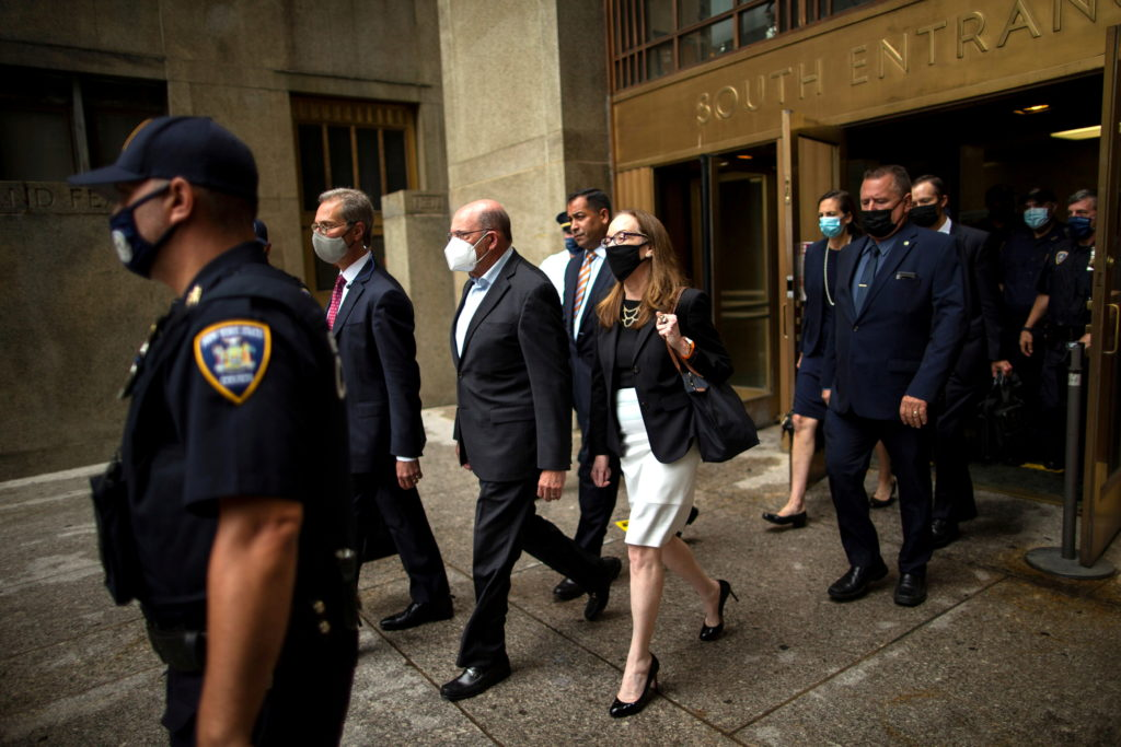 Trump Organization chief financial officer Allen Weisselberg exits following his arraignment hearing in New York State Sup...