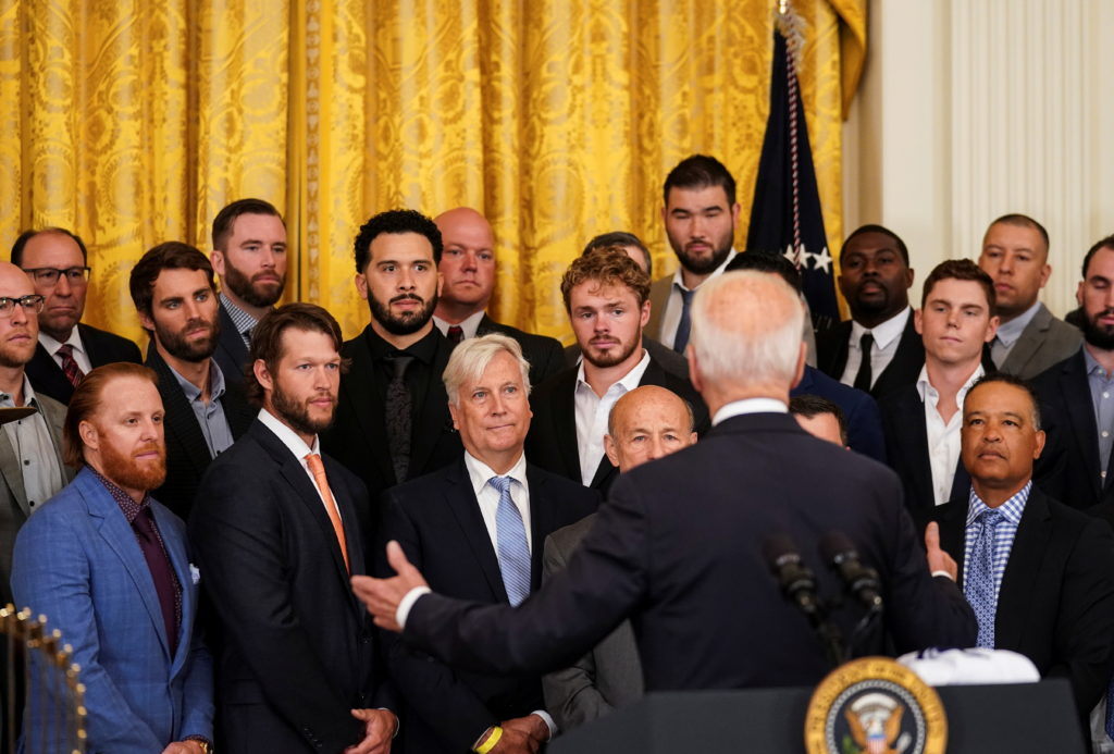 U.S. President Biden welcomes the 2020 World Series Champion Los Angeles Dodgers at the White Hous
