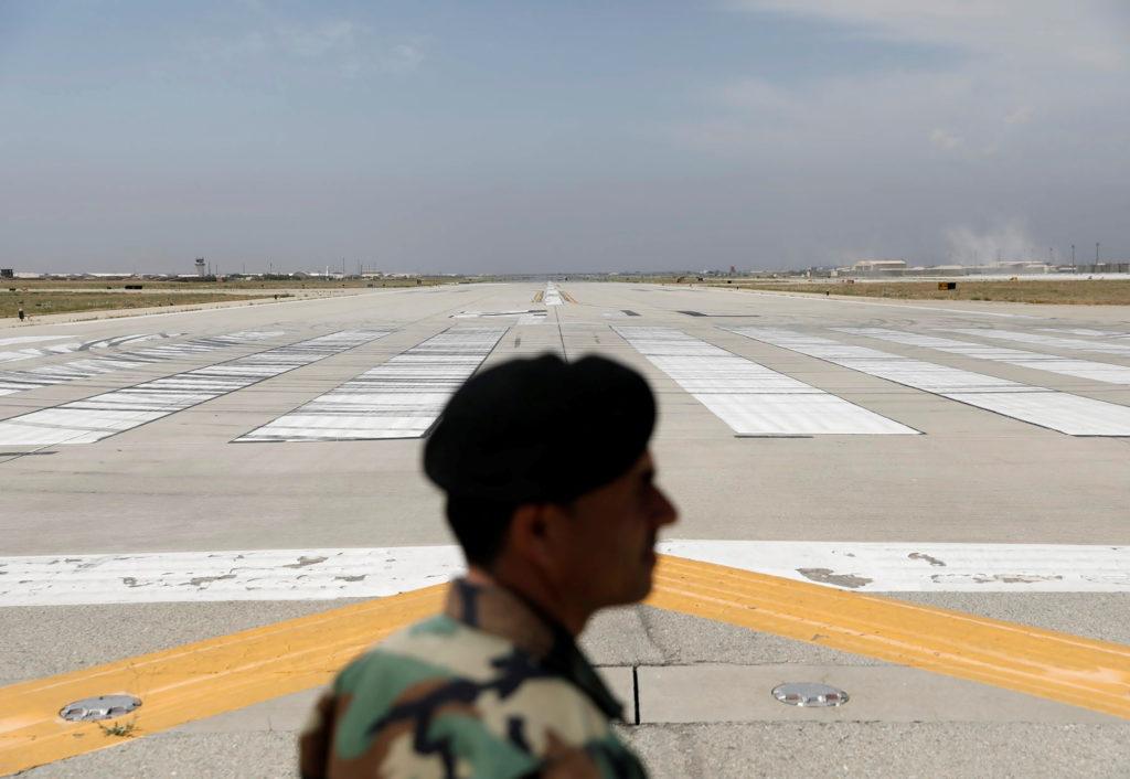 Runway is seen at Bagram U.S. air base, after American troops vacated it, in Parwan province