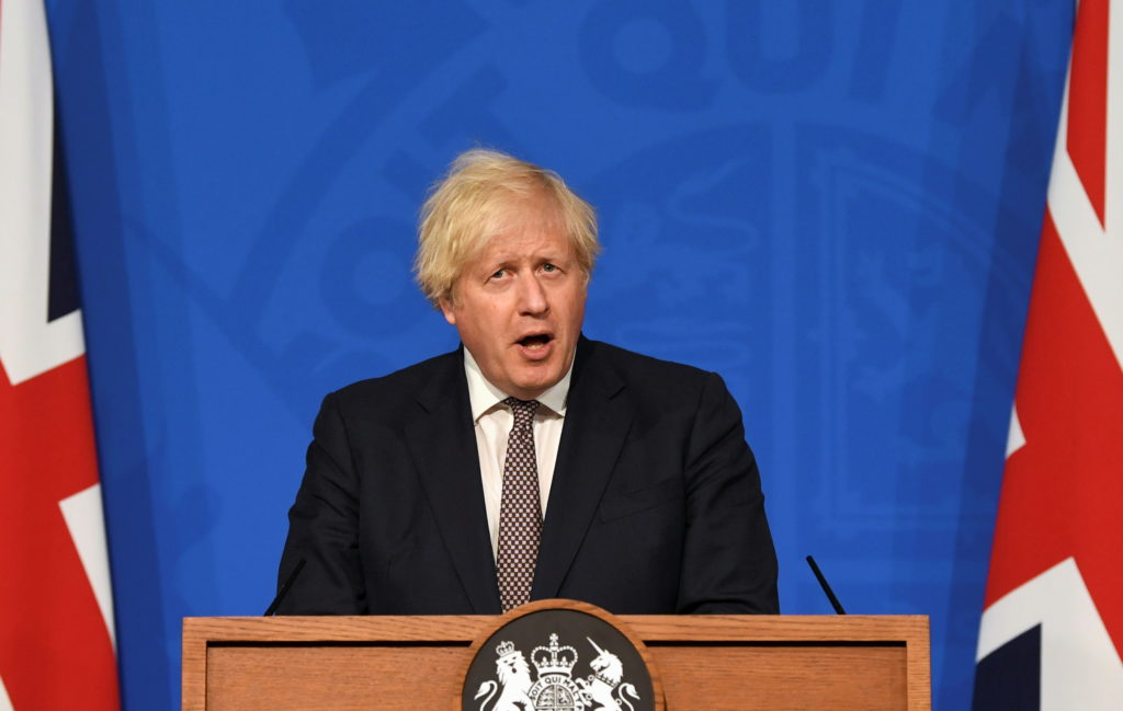 British Prime Minister Boris Johnson holds a news conference for England's COVID-19 lockdown easing announcement in London