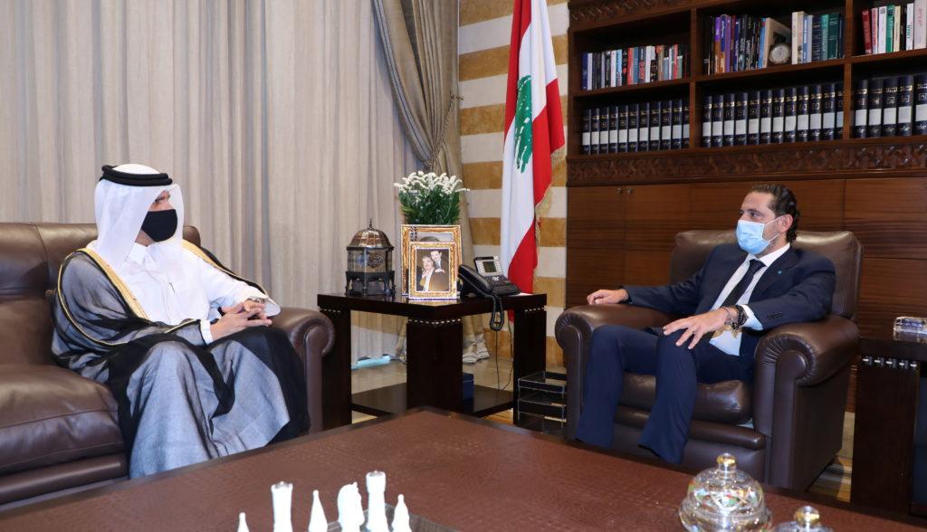 Qatari foreign minister Sheikh Mohammed bin Abdulrahman Al-Thani, meets with Lebanese Prime Minister-designate Saad al-Har...