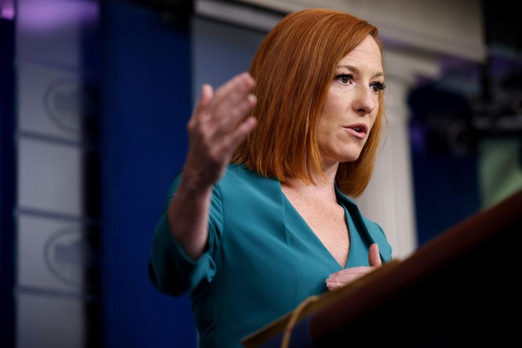 Press Secretary Jen Psaki holds a press breifing at the White House in Washington, U.S.