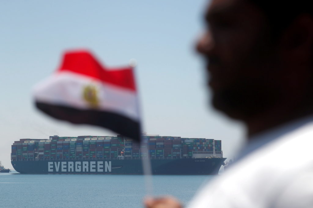 Ship Ever Given leaves the Suez Canal after settlement deal, in Ismailia