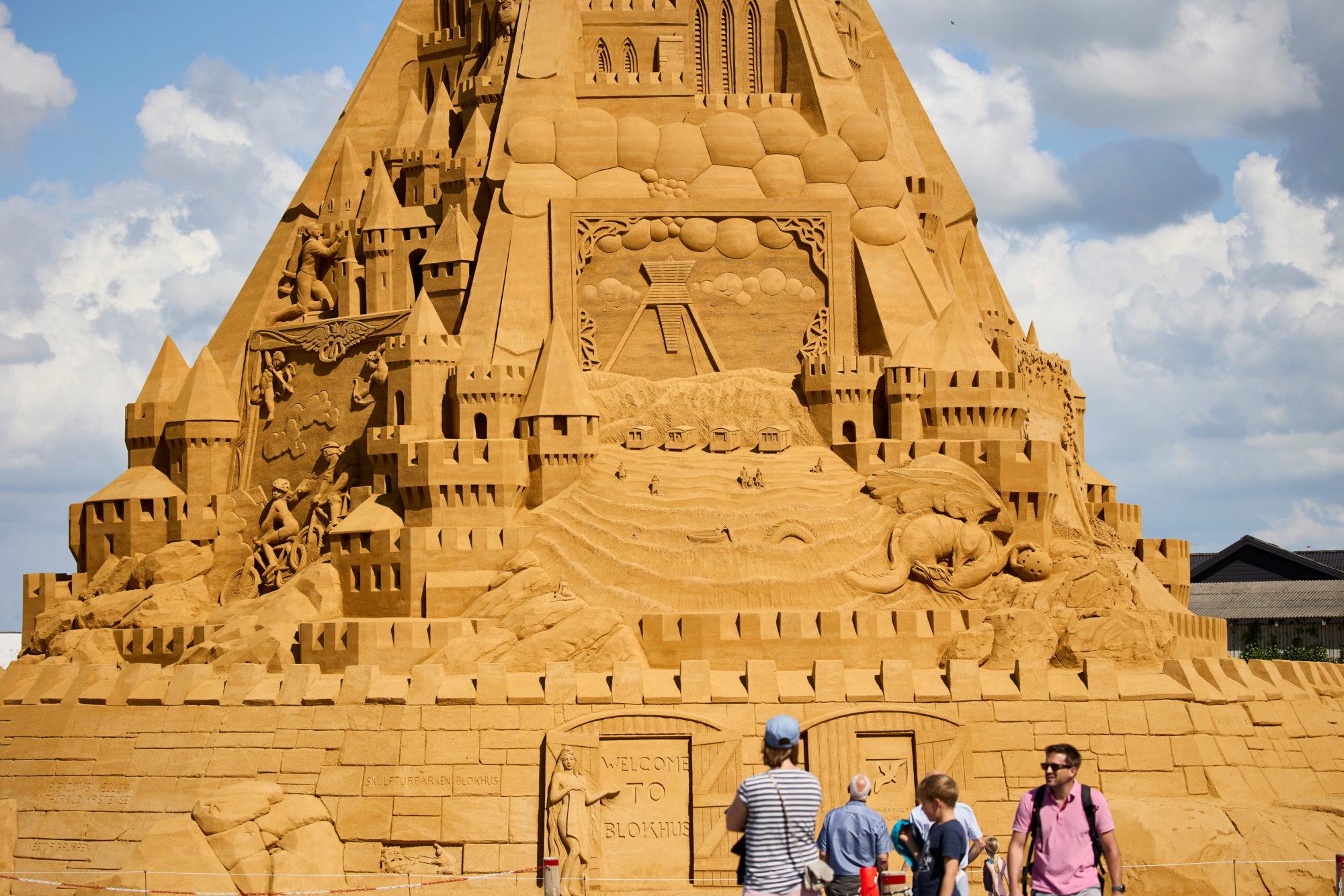 The world's tallest sand sculpture is seen in Blokhus, Denamrk.