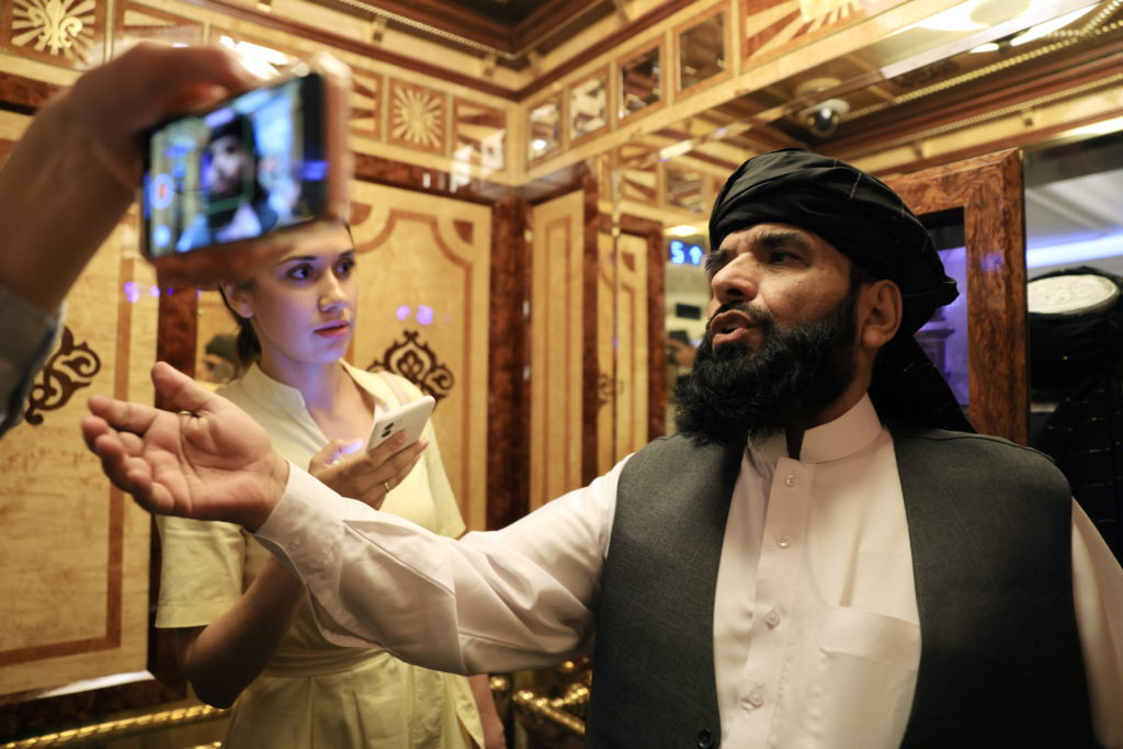 Taliban spokesmanSuhail Shaheen leaves after a news conference in Moscow,