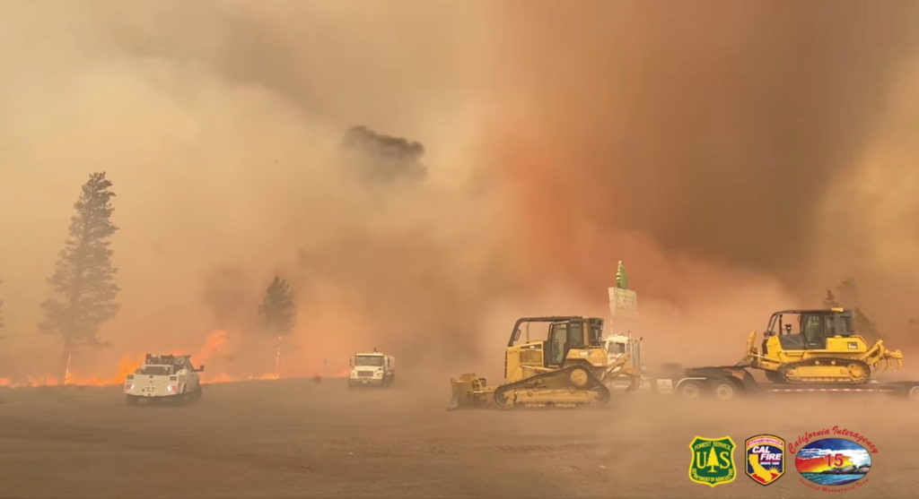 Fire tornado forms at Tennant Fire in the Klamath National Forest, in Macdoel, CA
