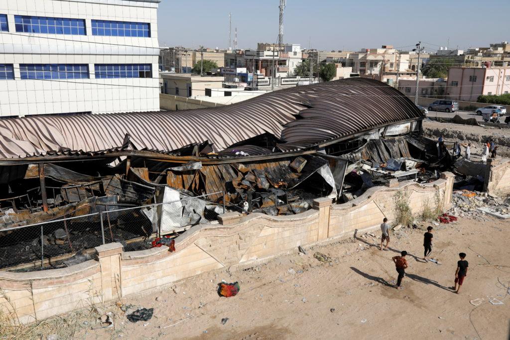 Fire at al-Hussain coronavirus hospital in Nassiriya, Iraq