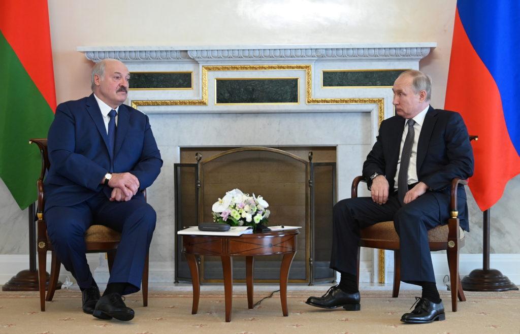 Russian President Putin meets Belarusian President Lukashenko in Saint Petersburg