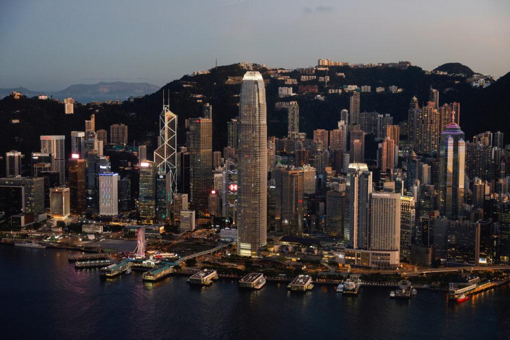A general view of skyline buildings, in Hong Kong