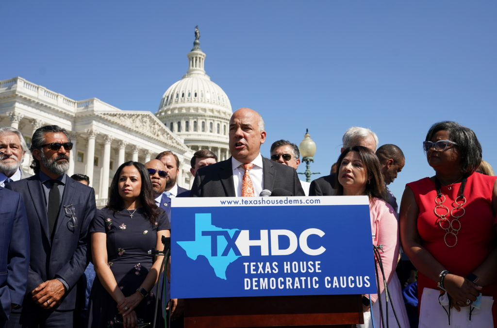 Democratic members of the Texas House of Representatives speak at the U.S. Capitol in Washington