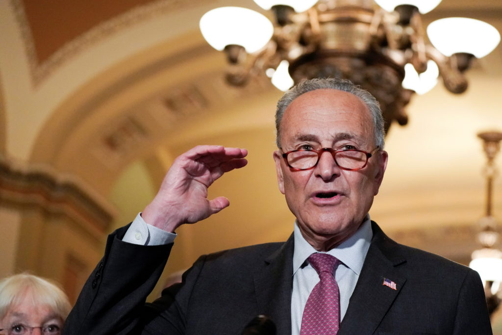 U.S. Senate Majority Leader Chuck Schumer (D-NY) talks to reporters following the weekly Senate lunch at the U.S. Capitol ...