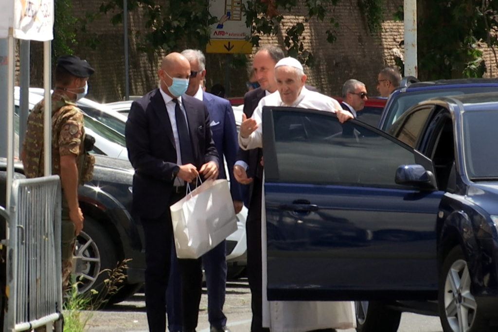 Pope Francis arrives at the Vatican after being discharged from Gemelli hospital