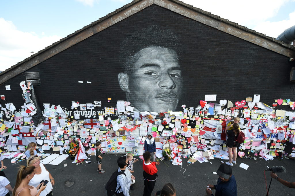 Stand Up to Racism Demonstration at the Marcus Rashford mural after it was defaced following the Euro 2020 Fin...