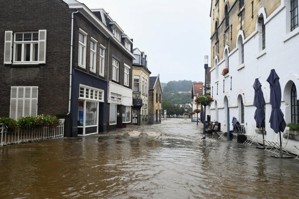 A flooded street is seen following heavy rainfalls in Valkenburg