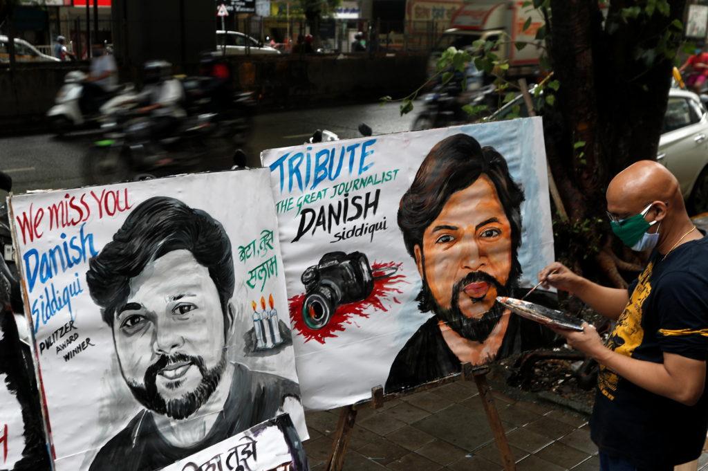 Tribute to Reuters journalist Danish Siddiqui, in Mumbai