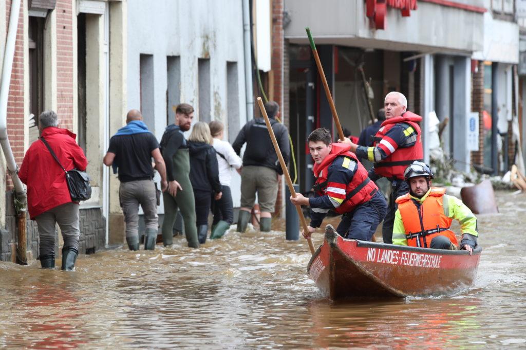 Heavy rainfalls, in Pepinster, Belgium
