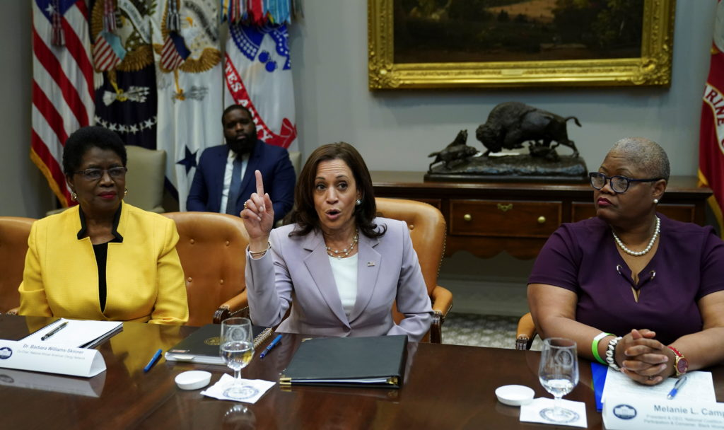 Vice President Harris speaks about voting rights from the White House in Washington