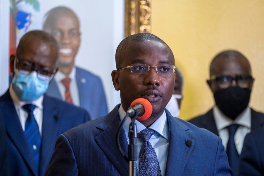 FILE PHOTO: Interim Prime Minister Claude Joseph gives a press conference