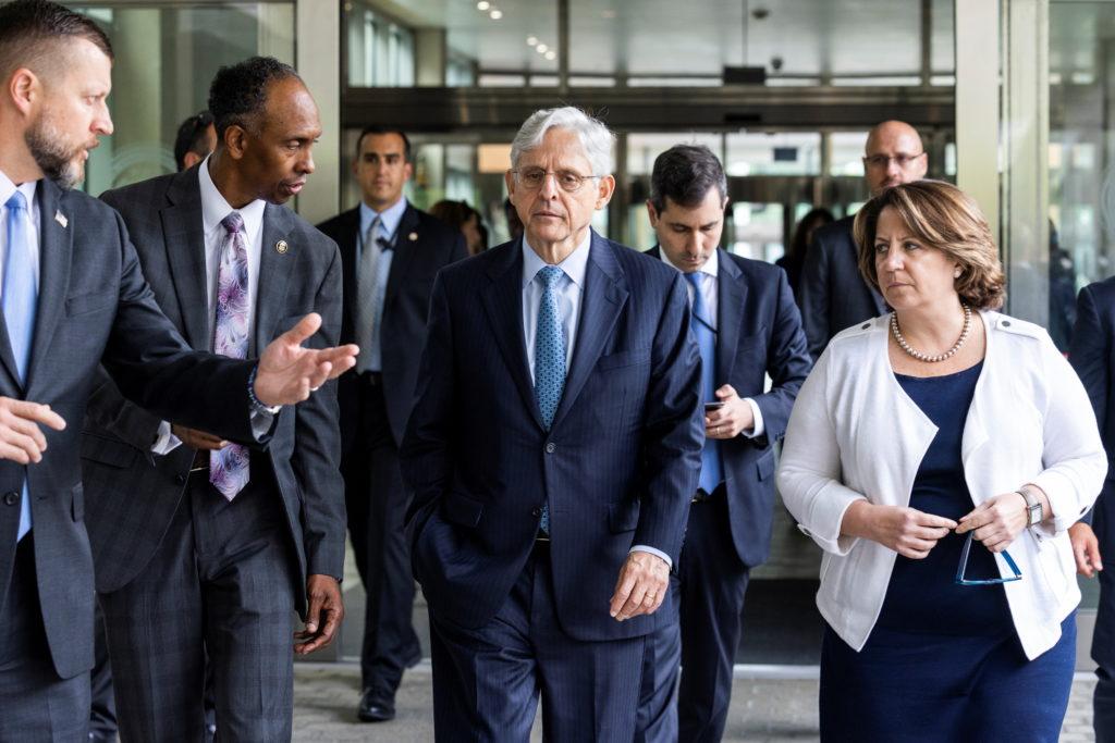 U.S. Attorney General Merrick Garland announces the launch of the Justice Department's five cross-jurisdictional gun traff...
