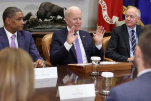 U.S. President Biden holds a meeting on infrastructure with labor and business leaders at the White House in Washington