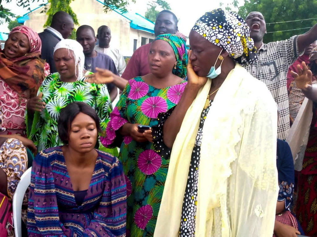 Parents of abducted students from Bethel Baptist High School wait as some are released, in Kaduna