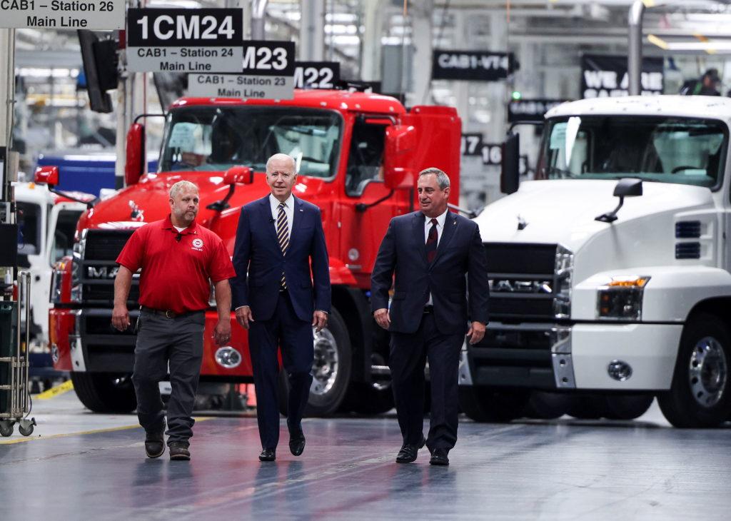U.S. President Biden visits Mack-Lehigh Valley Operations Manufacturing Facility in Macungie, Pensylvania