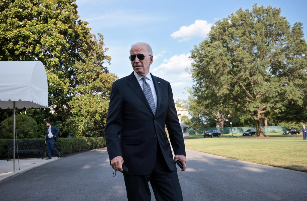 President Joe Biden departs the White House for Camp David