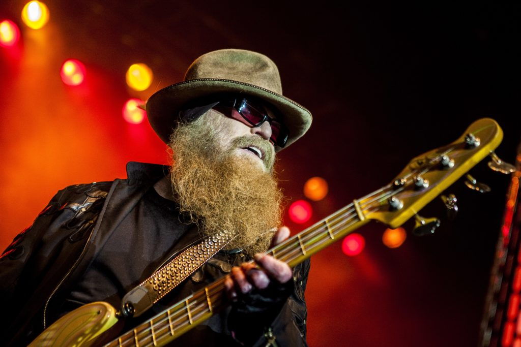 The American rock band ZZ Top performs a live concert at Scandinavian Congress Center in Aarhus. Here bass player Dusty Hi...