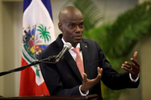 FILE PHOTO: Haiti's President Jovenel Moise speaks during a news conference to provide information about the measures conc...