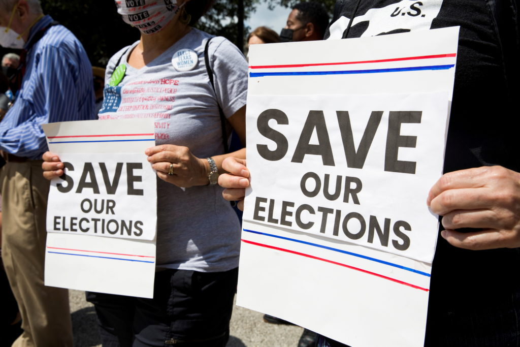 FILE PHOTO: Protest against new voting restrictions in Austin