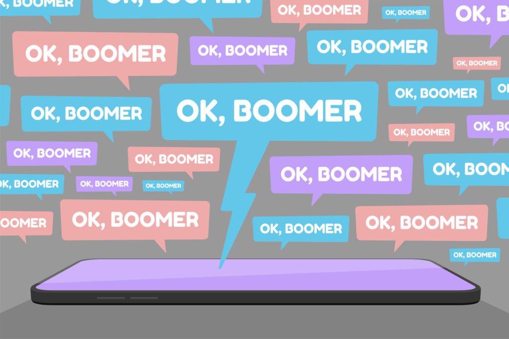 OK Boomer Social Media Spam Flat Vector Illustration