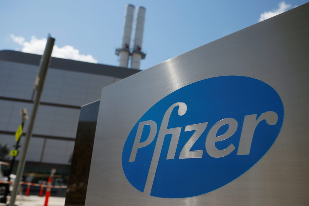 A sign marks the Pfizer facility in Cambridge