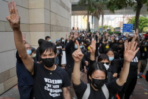 Protesters outside West Kowloon Magistrates' Courts in Hong Kong