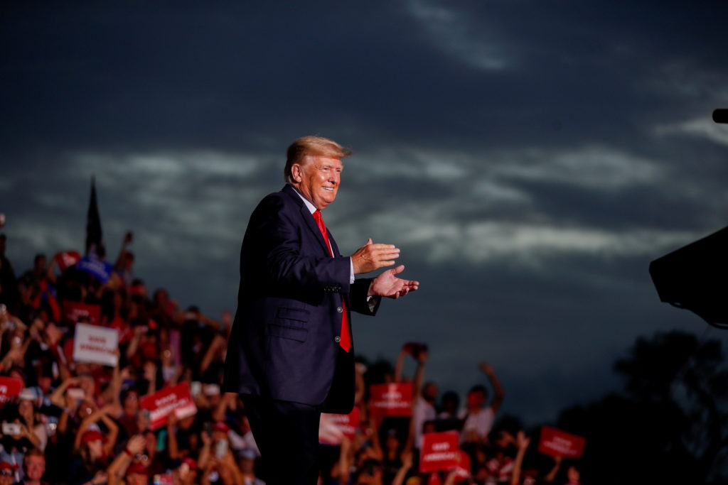 Former President Donald Trump arrives to speak to his supporters during the Save America Rally in Sarasota