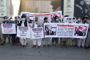 Former Afghan interpreters who worked with U.S. troops in Afghanistan demonstrate in Kabul