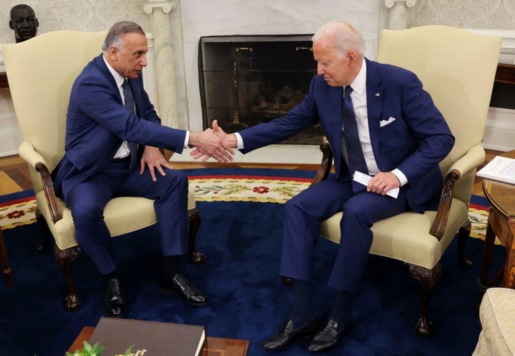 U.S. President Joe Biden holds bilateral meeting with Iraq's Prime Minister Mustafa Al-Kadhimi at the White House in Washi...