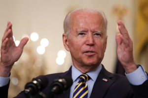 U.S. President Biden speaks about U.S. withdrawal from Afghanistan at the White House in Washington