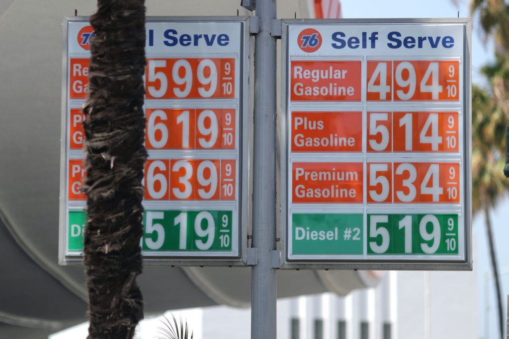 Gas prices are seen in Beverly Hills