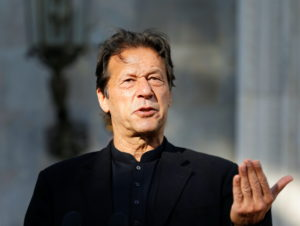 Pakistan's Prime Minister Imran Khan speaks during a joint news conference with Afghan President Ashraf Ghani at the presi...