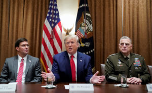 Trump meets with senior military leaders at the White House in Washington