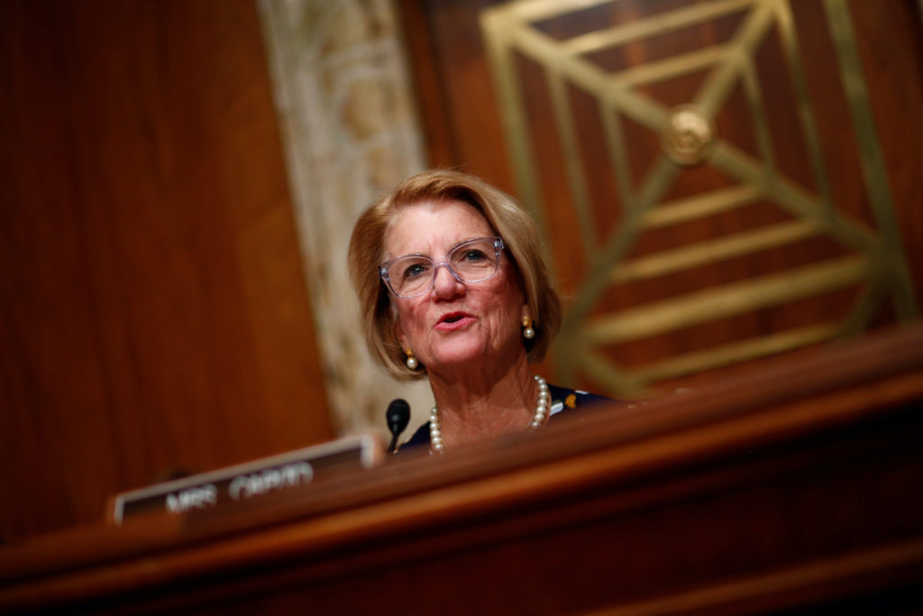 Senator Shelly Moore Capito (R-WV) speaks at the Senate Appropriations Subcommittee hearing on proposed budget estimates a...
