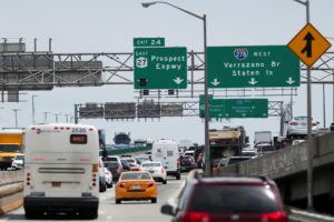 Traffic is seen on a highway ahead of the July 4th holiday, in New York