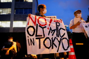Anti-Olympic protesters gather outside Japanese Prime Minister Yoshihide Suga's office