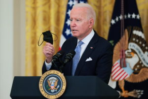 U.S. President Joe Biden speaks about the pace of coronavirus disease (COVID-19) vaccinations during remarks at the White ...