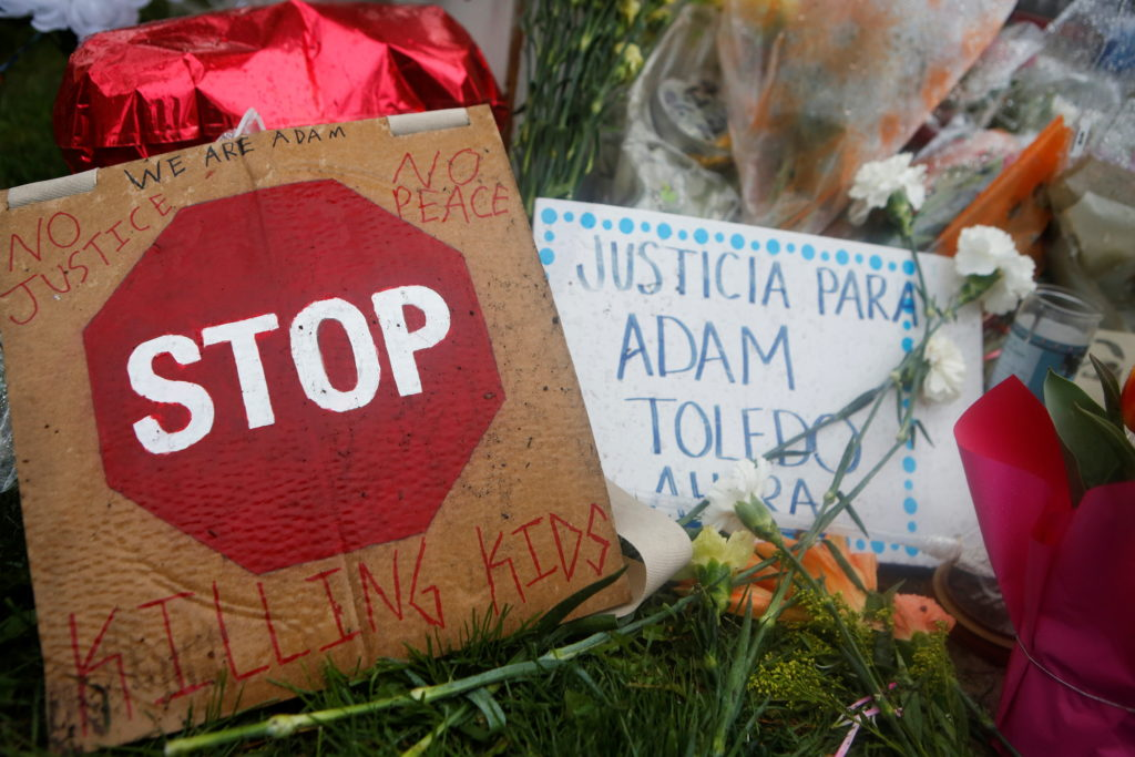 A growing memorial to 13-year-old Adam Toledo in Chicago